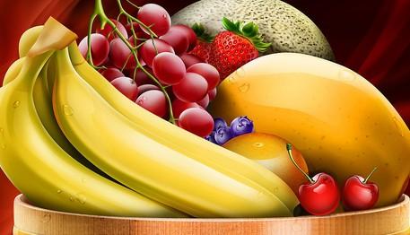 绿色食品葡萄香蕉