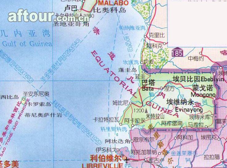 赤道几内亚地名的来历_赤道几内亚详细地图