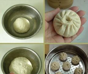 豆沙馅包子的做法3