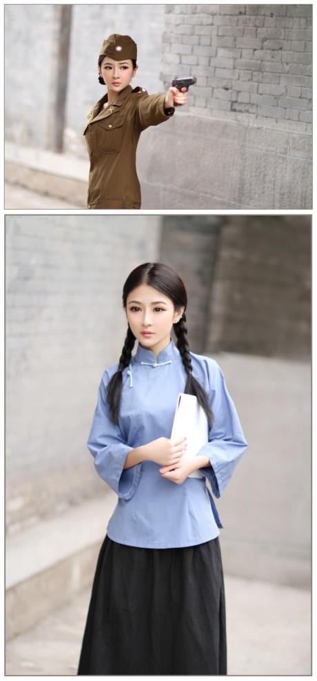 嫩模沈若熙身着民国时期学生旗袍装温婉可人