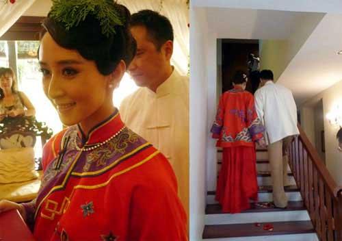 旗袍女神_明星胡静结婚时的敬酒中式同款旗袍2