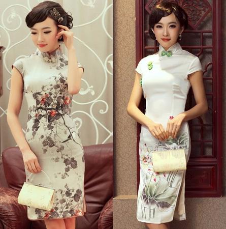 两种不同风格旗袍的对比