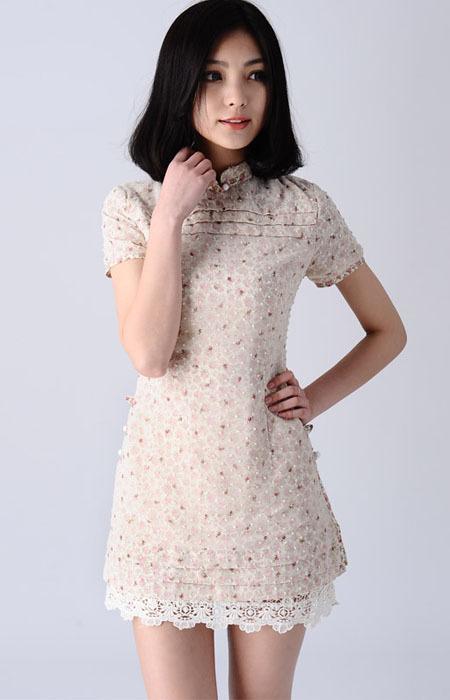 别致韵味的改良旗袍 甜美的蕾丝雪纺连衣裙