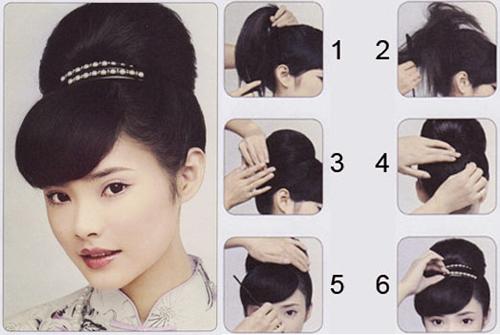 束盘式中式旗袍发型