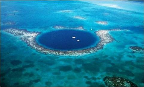 伯利兹大蓝洞_鸟瞰自然魅力的大蓝洞